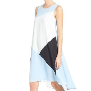 Vince Camuto Colorblocked High-Low Shift Dress